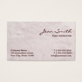 White Fur Yoga instructor Business Card