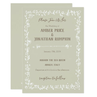 White Garden Border Rustic Wedding Invitations