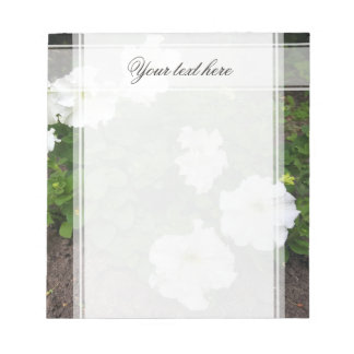 White garden flowers photograph notepad