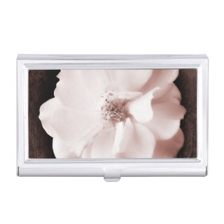 White Garden Rose Sepia Roses Floral Template Business Card Holder