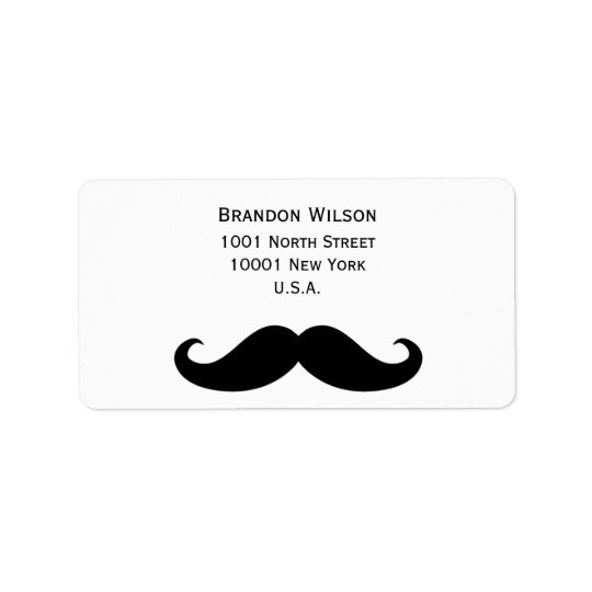 White Gay Wedding Address Labels With Moustache