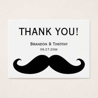 White Gay Wedding Favor Tags With Moustache Business Card