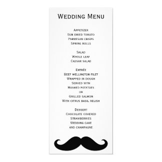 White Gay Wedding Menu With Moustache Card