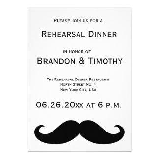 White Gay Wedding Rehearsal Invitations Moustache