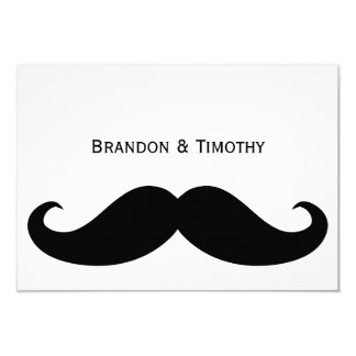 """White Gay Wedding RSVP Cards With Moustache 3.5"""" X 5"""" Invitation Card"""