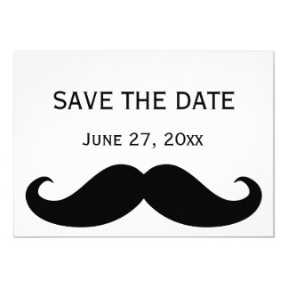 White Gay Wedding Save The Date Cards Moustache