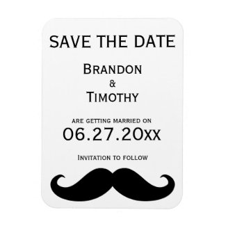White Gay Wedding Save The Date Magnet Moustache