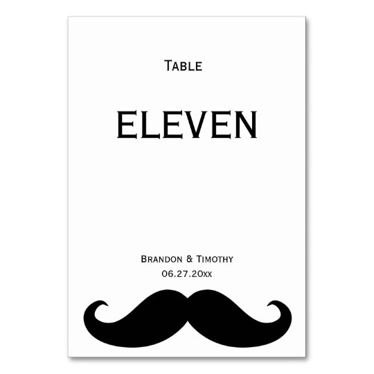White Gay Wedding Table Numbers With Moustache