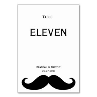 White Gay Wedding Table Numbers With Moustache Table Cards
