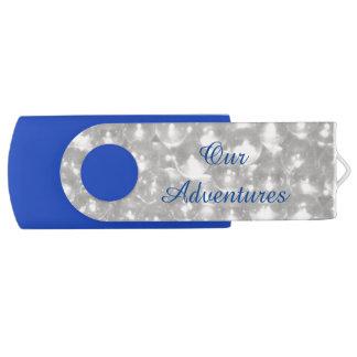 White Gems Adventures Swivel USB 2.0 Flash Drive