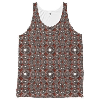 White Geometrical Pattern On Dark Brown All-Over-Print Tank Top
