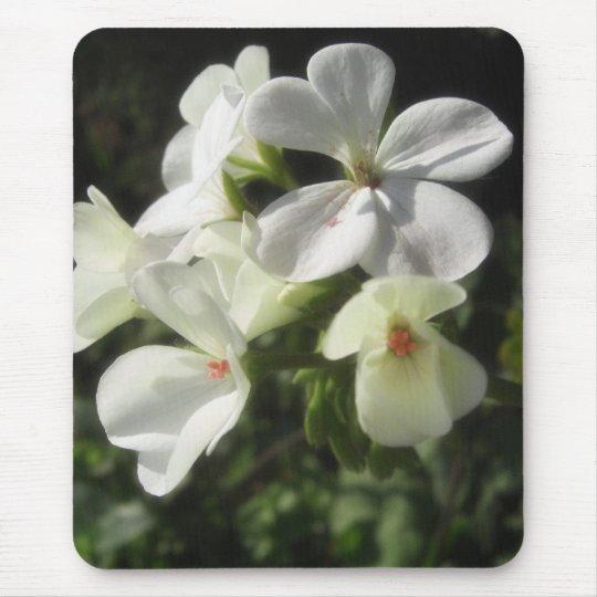 White Geraniums 1 - Simple Pleasures Mouse Pad