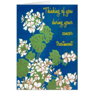 White Geraniums on Blue Cancer Treatment Support Card