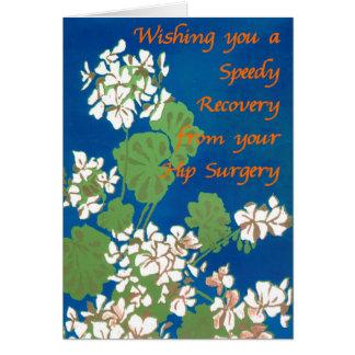 White Geraniums on Blue Get Well Hip Surgery Card