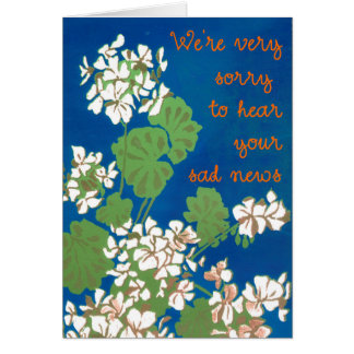 White Geraniums on Blue Sympathy and Support Card