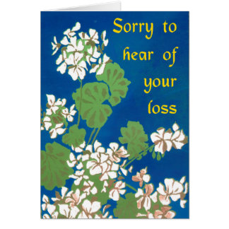 White Geraniums on Blue Sympathy for Loss Card