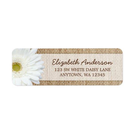 White Gerbera Daisy Rustic Burlap Address Return Address Label