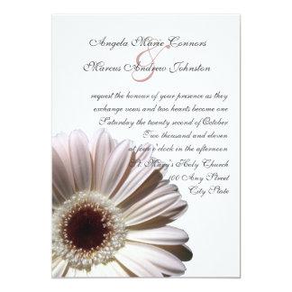 "White Gerbera Wedding Daisy 5"" X 7"" Invitation Card"