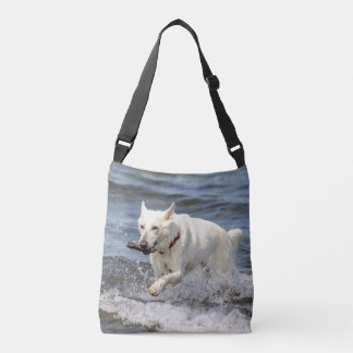 White German Shepard on Lake George Crossbody Bag