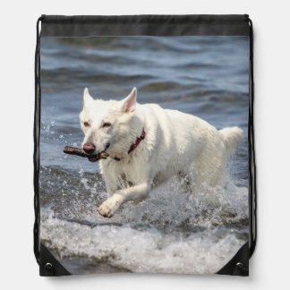 White German Shepard on Lake George Drawstring Bag