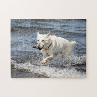 White German Shepard on Lake George Jigsaw Puzzle