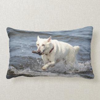 White German Shepard on Lake George Lumbar Pillow