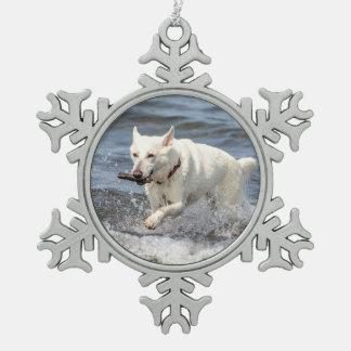 White German Shepard on Lake George Snowflake Pewter Christmas Ornament