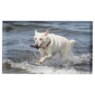 White German Shepard on Lake George Table Card Holder