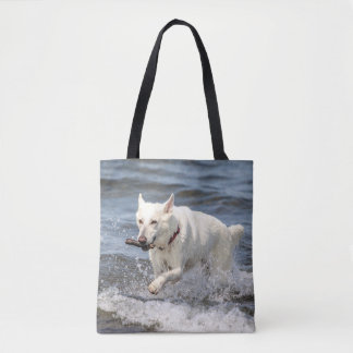 White German Shepard on Lake George Tote Bag