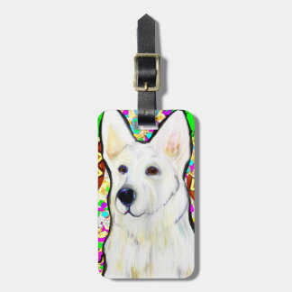 White German Shepherd Bling Luggage Tag