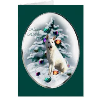 White German Shepherd Christmas Card