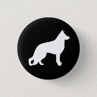 White German Shepherd Dog Silhouette 1 Inch Round Button