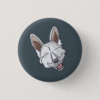 White German Shepherd Dog Smiling 1 Inch Round Button