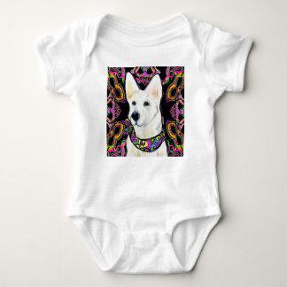 White German Shepherd Mardi Gras Baby Bodysuit