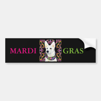 White German Shepherd Mardi Gras Bumper Sticker
