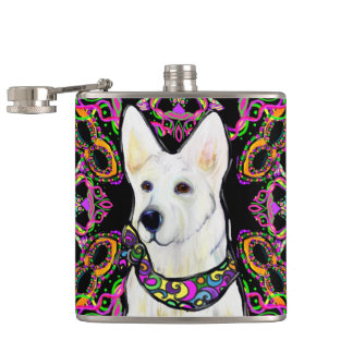 White German Shepherd Mardi Gras Hip Flask
