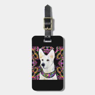White German Shepherd Mardi Gras Luggage Tag
