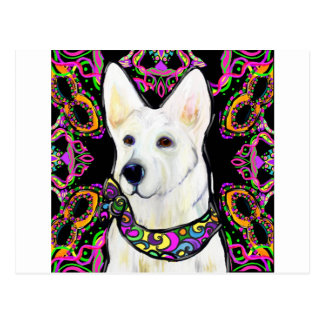 White German Shepherd Mardi Gras Postcard