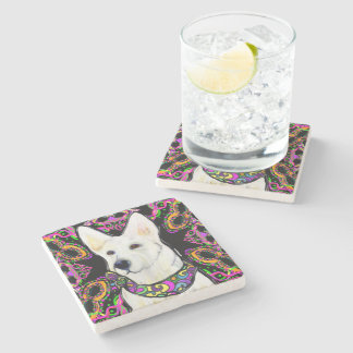 White German Shepherd Mardi Gras Stone Coaster