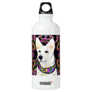 White German Shepherd Mardi Gras Water Bottle
