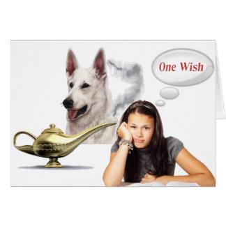 "White German Shepherd - ""one wish"" Card"