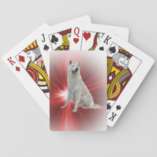 White German Shepherd Playing Cards