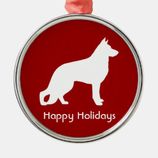 White German Shepherd Silhouette with Text Metal Ornament
