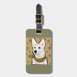 White German Shepherd Soldier Luggage Tag
