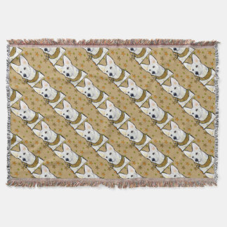 White German Shepherd Soldier Throw Blanket
