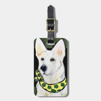 White German Shepherd St. Patty Bag Tag