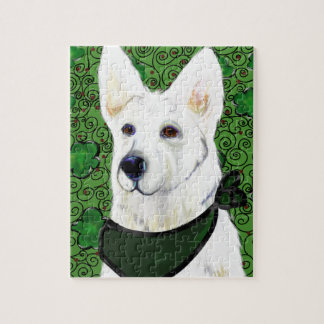 White German Shepherd St. Patty Jigsaw Puzzle
