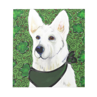 White German Shepherd St. Patty Notepad