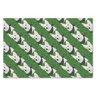 White German Shepherd St. Patty Tissue Paper