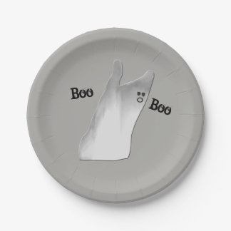 White Ghost Boo Paper Plate